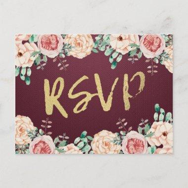 Watercolor Floral & Gold Script Wedding RSVP Reply Invitation Post