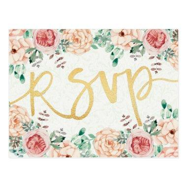 Watercolor Floral & Gold Script Wedding RSVP Reply Post