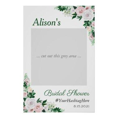Watercolor Floral Green Bridal Shower Photo Prop Poster