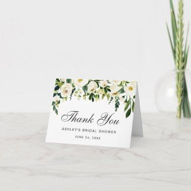 Watercolor Floral Green Bridal Shower Thanks Note Thank You Invitations