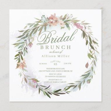 Watercolor Floral Greenery Wreath Bridal Brunch Invitations