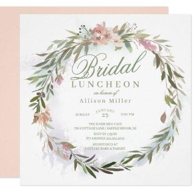 Watercolor Floral Greenery Wreath Bridal Luncheon Invitations