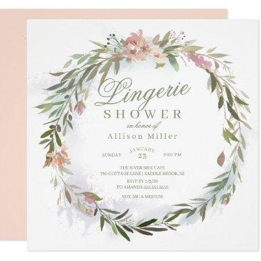 Watercolor Floral Greenery Wreath Lingerie Shower Invitations
