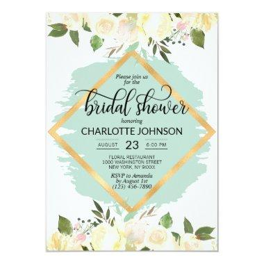Watercolor Floral Ivory Mint Gold Bridal Shower Invitations