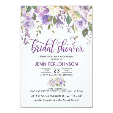 Watercolor Floral Lavender Purple Bridal Shower Invitations
