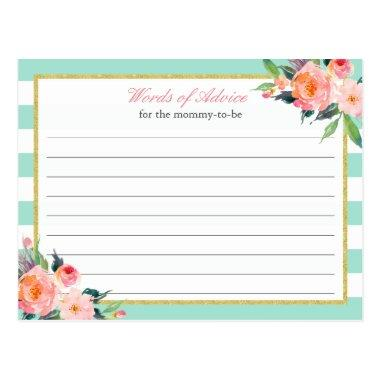 Watercolor Floral Mint Green Words of Advice Card