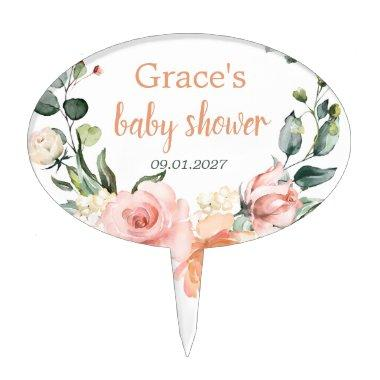 Watercolor floral, peach pink roses Baby Shower Cake Topper