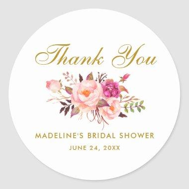 Watercolor Floral Pink Blush Gold Bridal Shower Classic Round Sticker