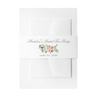 Watercolor Floral Pink Silver Bridal Tea Party Invitations Belly Band