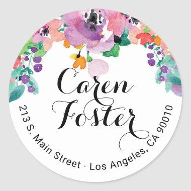 Watercolor Floral Return Address  Labels