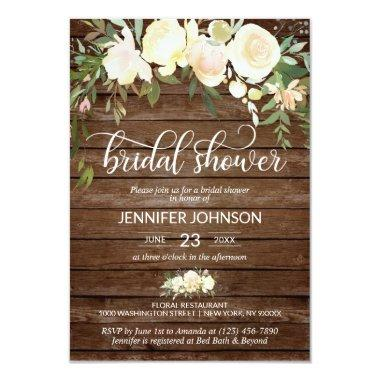 Watercolor Floral Rustic Pink Ivory Bridal Shower Invitations