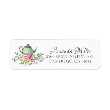 Watercolor Floral Tea Bridal Return Address Label