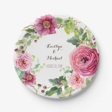 Watercolor Floral Wreath Peony Rose  Paper Plate