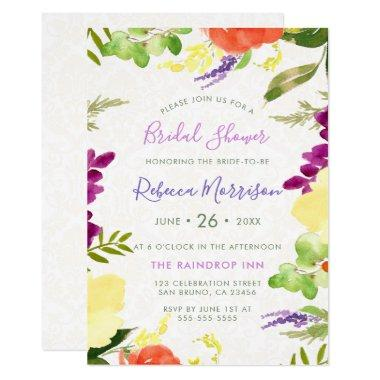 Watercolor Flowers & Beige Damask Bridal Shower Invitations