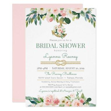 Watercolor Flowers Blush Nautical Bridal Shower Invitations