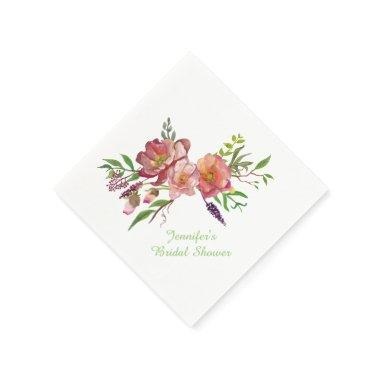 Watercolor Flowers  Paper Napkins