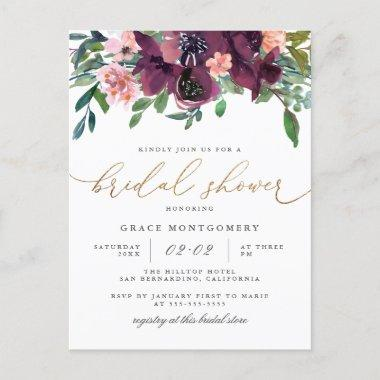 Watercolor Flowers & Gold Glitter Bridal Shower Invitation PostInvitations