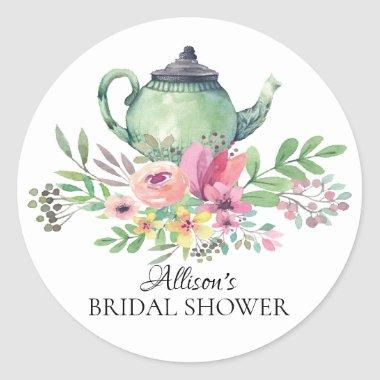 Watercolor Green Floral Bridal Tea Party Sticker