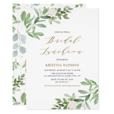 Watercolor Greenery and Flowers Bridal Luncheon Invitations