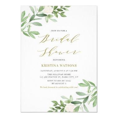 Watercolor Greenery and Flowers Bridal Shower Invitations