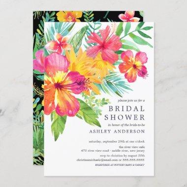 Watercolor Hibiscus Tropical Bridal Shower Invitations