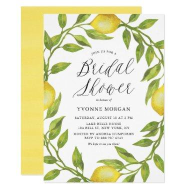 Watercolor Lemon Greenery Wreath Bridal Shower Invitations