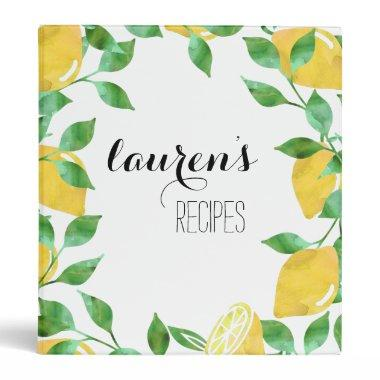 Watercolor Lemon Personalized Recipe Binder
