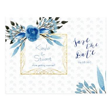 Watercolor Majestic Blue Flowers Save The Date PostInvitations