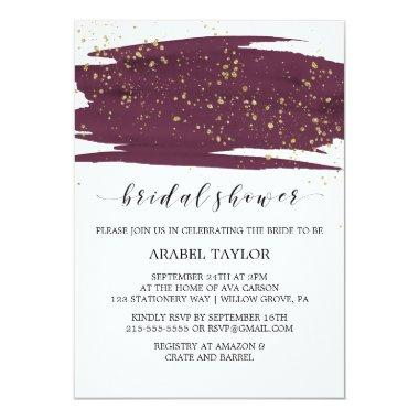 Watercolor Marsala and Gold Sparkle