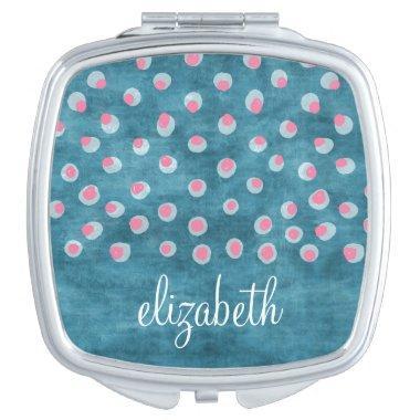 Watercolor Messy Polka Dots - blue and pink Makeup Mirror