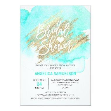 Watercolor Mint Green Gold Brush Bridal Shower Invitations
