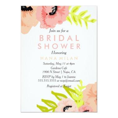 Watercolor Modern Bridal Shower Invitations