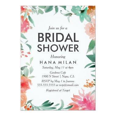 Watercolor Modern Bridal Shower Invitations