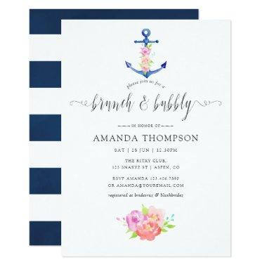 Watercolor Nautical Theme Floral Brunch and Bubbly Invitations