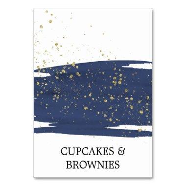 Watercolor Navy and Gold Sparkle Food Tent Invitations