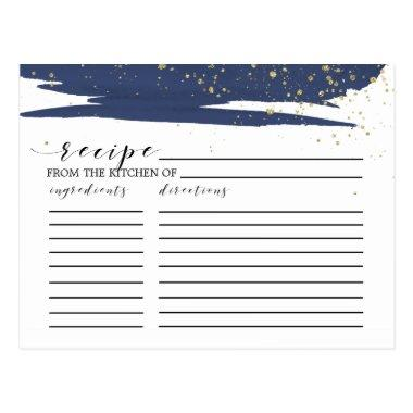 Watercolor Navy & Gold Bridal Shower Recipe Invitations