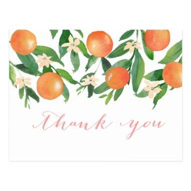 Watercolor Oranges Citrus fruit blossom thank you PostInvitations