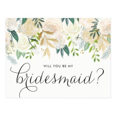 Watercolor Pale Peonies Will You Be My Bridesmaid Post