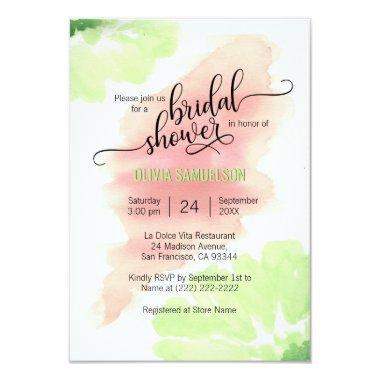 Watercolor Peach, Mint Green Wedding