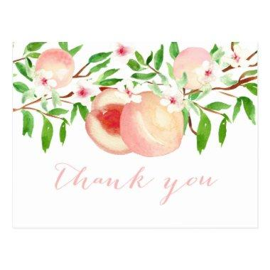 Watercolor Peaches thank you note for baby shower PostInvitations
