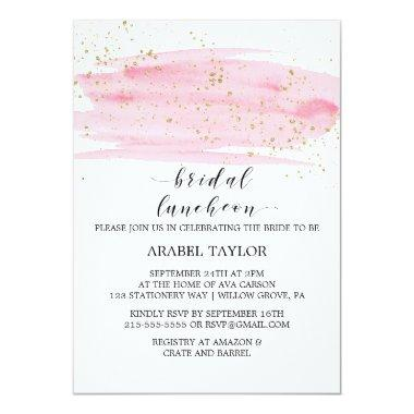 Watercolor Pink Blush and Gold Bridal Luncheon