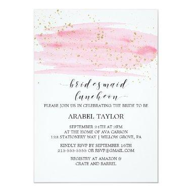 Watercolor Pink Blush and Gold Bridesmaid Luncheon