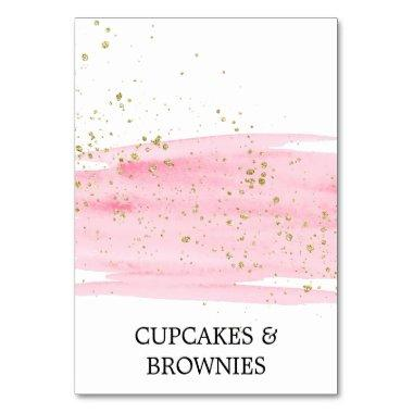 Watercolor Pink Blush and Gold Food Tent Invitations