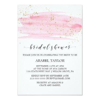 Watercolor Pink Blush & Gold Sparkle
