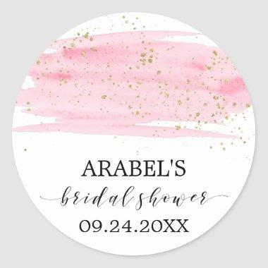 Watercolor Pink Blush & Gold Sparkle  Classic Round Sticker