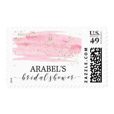 Watercolor Pink Blush & Gold Sparkle  Postage