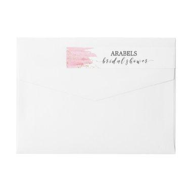 Watercolor Pink Blush & Gold Sparkle  Wrap Around Label