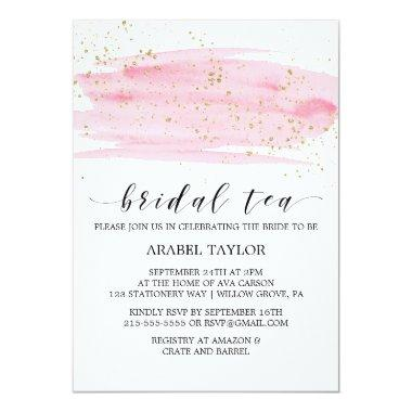 Watercolor Pink Blush & Gold Sparkle Bridal Tea