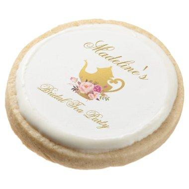 Watercolor Pink Floral Bridal Shower Tea Party Round Shortbread Cookie