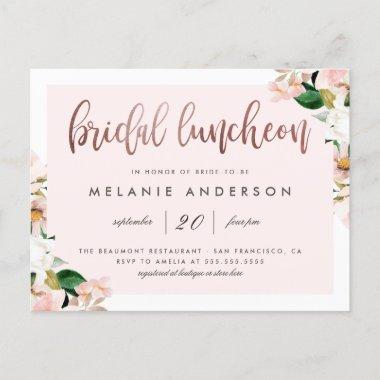 Watercolor Pink Floral Rose Gold Bridal Luncheon Invitation PostInvitations